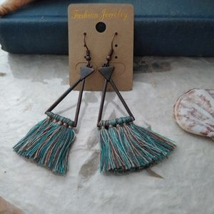 Boho triangle geometric tassel dangle earrings